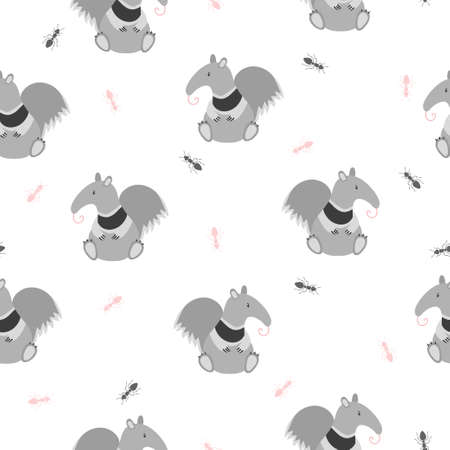 Seamless pattern with cute ant-eater and ants. Baby print with funny animals.