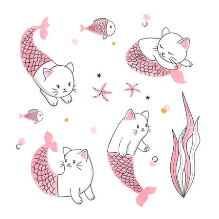 Marine set of cute cat mermaids. Sea vector collection for kids 矢量图像
