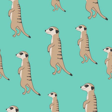 Seamless cute meerkat pattern. Standing suricate. 矢量图像