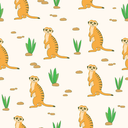 Seamless cartoon Meerkats pattern. Desert background