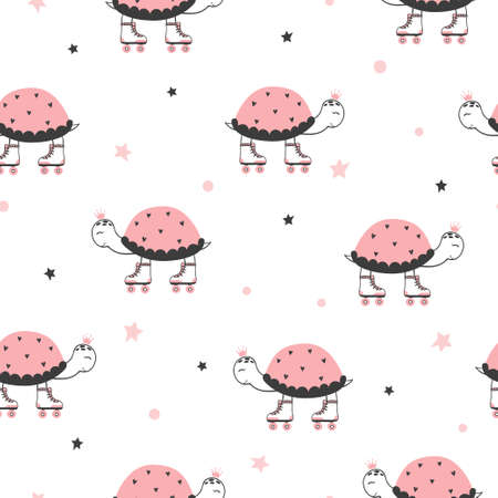 Seamless vector pattern with cartoon skating turtles. 免版税图像 - 155796181
