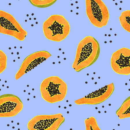 Seamless papaya fruit pattern. Vector background with orange fruit slices.