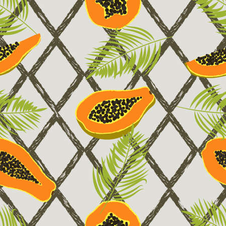 Abstract tropical pattern with papaya and palm leaves.