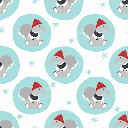 Seamless Christmas pattern with cute ant eater. Winter vector illustration.