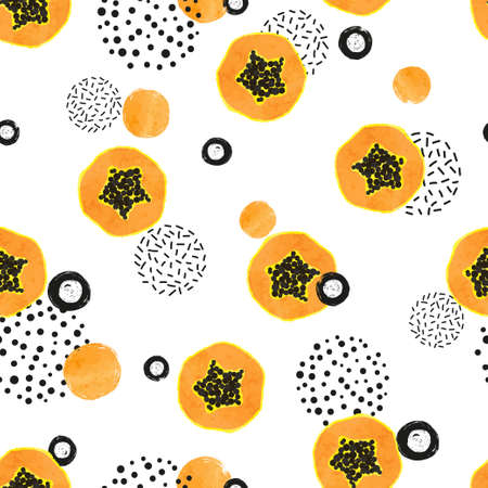 Seamless abstract pattern with papaya fruit slices. 矢量图像