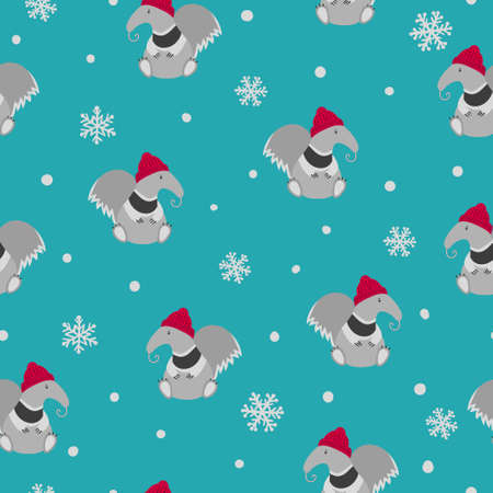 Seamless Christmas pattern with cute ant eater and snowflakes. Winter vector illustration.