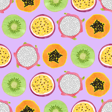 Seamless tropical fruit pattern with kiwi, papaya and passion fruit slices.