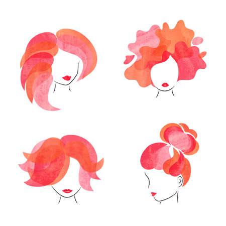 Hairstyle women set. Logo, poster design for beauty salon. Vector hair illustration.