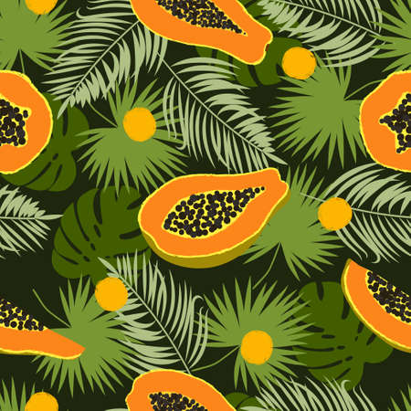 Abstract tropical pattern with papaya and palm leaves. Vector seamless illustration.
