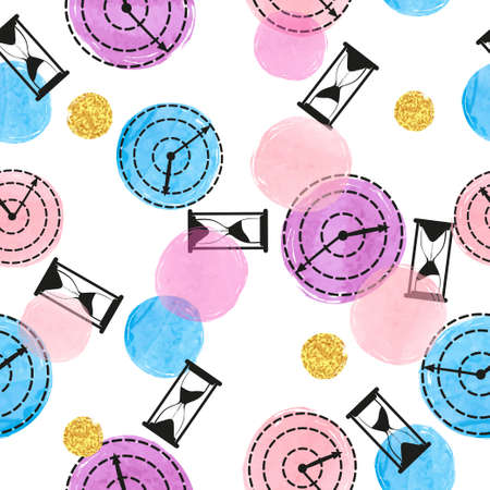 Seamless colorful pattern with hand drawn watches. Round clock and hourglass. Vector time illustration.