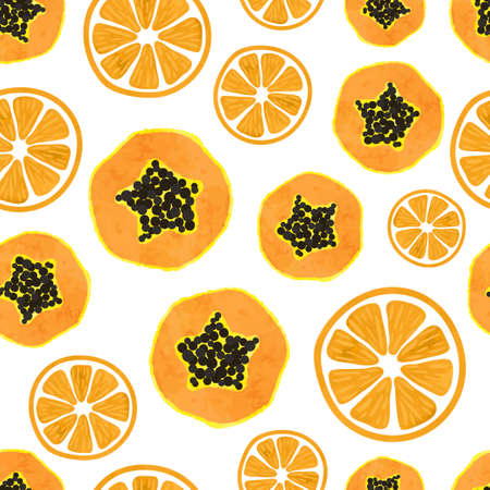 Seamless tropical fruit pattern with orange and papaya slices.