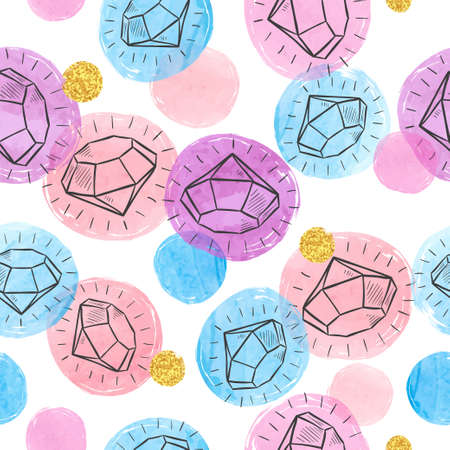 Seamless colorful diamond pattern. Jewel vector illustration.