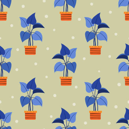 Seamless bright color pattern with plants pots. Vector interior design illustration 矢量图像