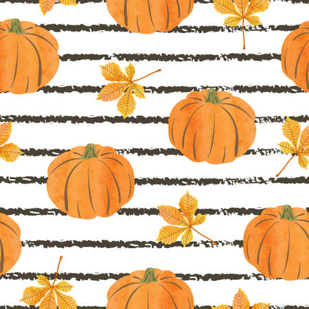Seamless abstract autumn pattern with watercolor pumpkins and leaves. Striped background
