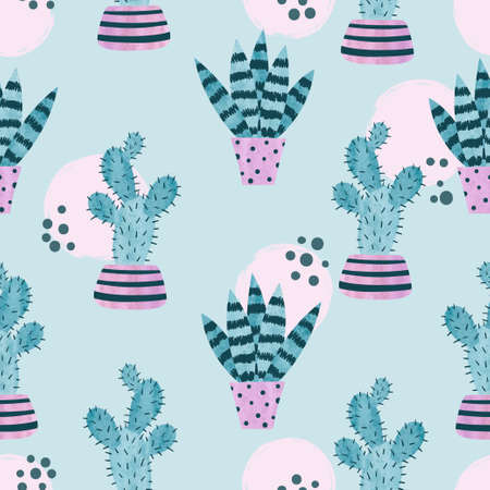 Seamless watercolor plants in pots pattern. Cute cactus vector print.