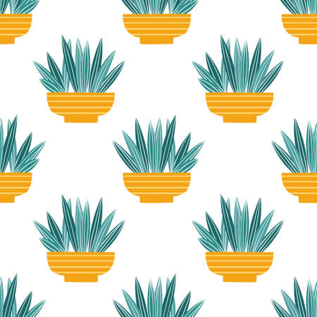 Seamless pattern with plants in pots. Vector interior illustration with houseplants 免版税图像 - 156669152