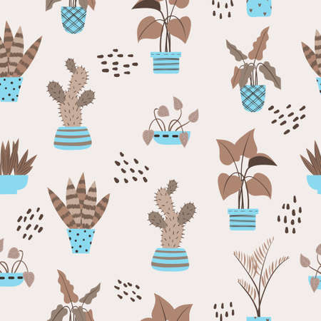 Seamless pattern with plants pots. Vector interior design in scandinavian style 矢量图像