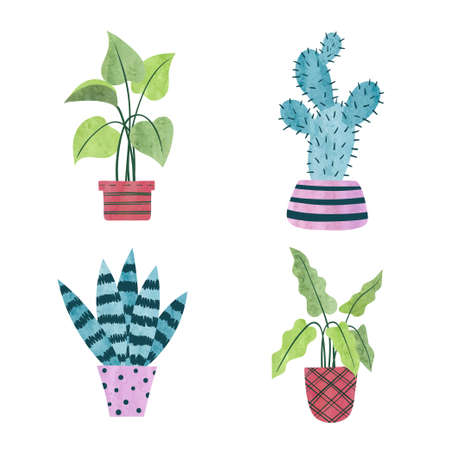 Set of watercolor plants in pots isolated on white. Vector interior design illustration
