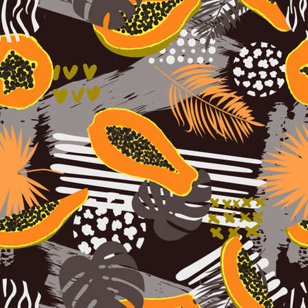Seamless abstract fruit tropical pattern with palm leaves and papaya.