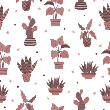 Seamless pattern with plants in pots. Vector illustration in scandinavian style 矢量图像
