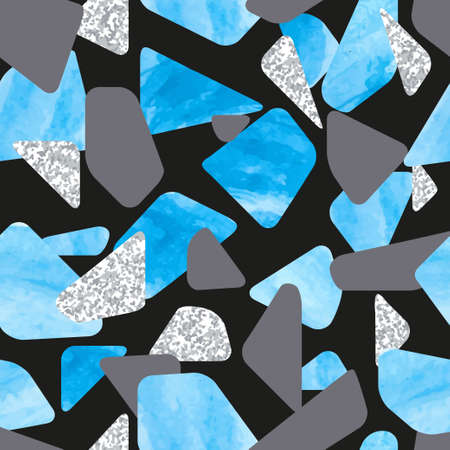 Abstract blue and black terrazzo seamless pattern. Vector mosaic background. 矢量图像