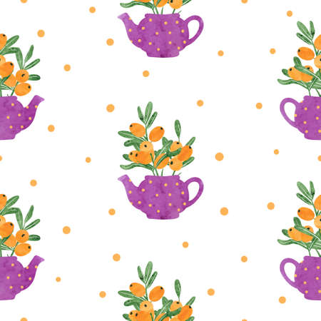 Seamless watercolor teapots with buckthorn berries pattern. Vector tea background