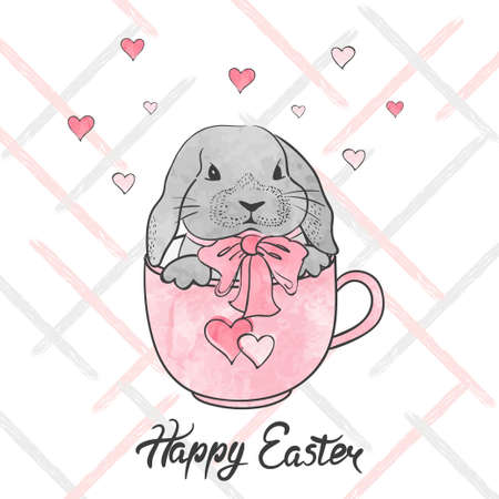 Happy Easter card. Vector watercolor illustration with cute bunny in the cup.