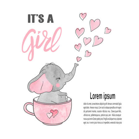 Baby shower girl poster with cute elephant. Newborn announcement card vector illustration.