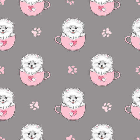 Seamless pattern with cute pomeranian dog. Vector illustration for kids