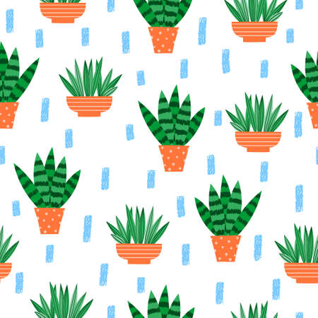Plants in pots seamless pattern. Cute houseplant vector print. 免版税图像 - 157120567
