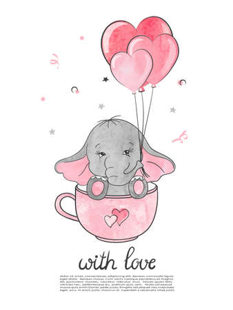 Valentines Day card with cute little elephant and hearts.
