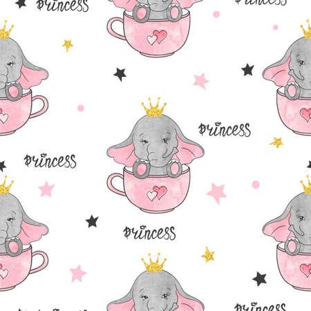 Seamless cute elephant princess pattern. Baby print, kids textile design