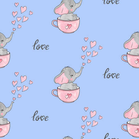 Seamless pattern with cute  elephants in cups. Baby print.