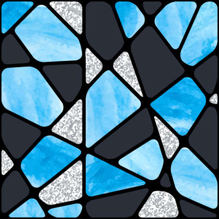 Stained glass window background. Abstract blue mosaic pattern.
