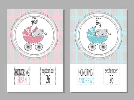 Baby shower posters with cartoon Teddy bear. Newborn announcement cards vector illustration.