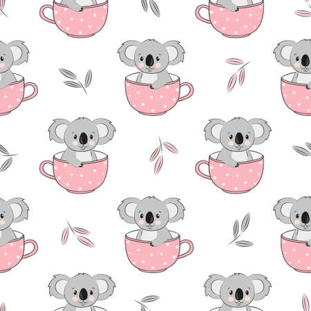 Seamless pattern with cute on koala bears in cups. Baby print