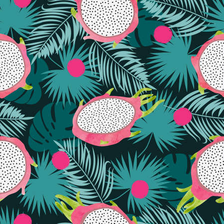 Tropical vector pattern with dragon fruit and jungle leaves. Summer background.