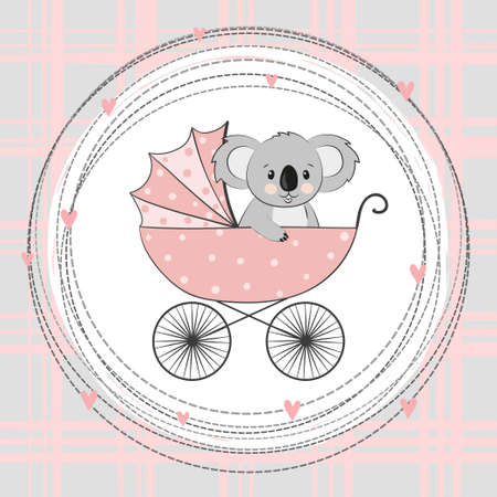 Baby shower  card. Cartoon koala bear in stroller.
