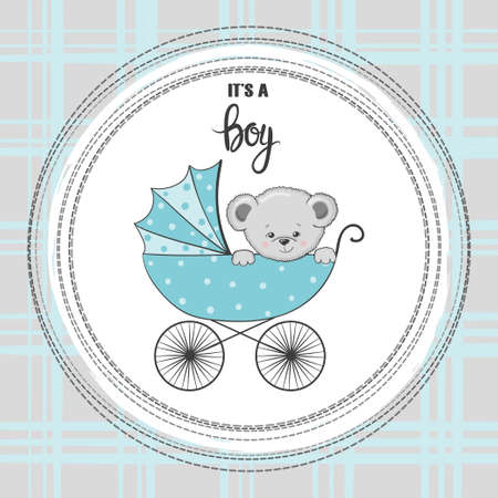Baby shower boy card. Cartoon Teddy bear in stroller. 矢量图像