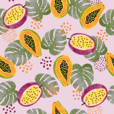Tropical fruit pattern with watercolor papaya, passion fruit and palm leaves.