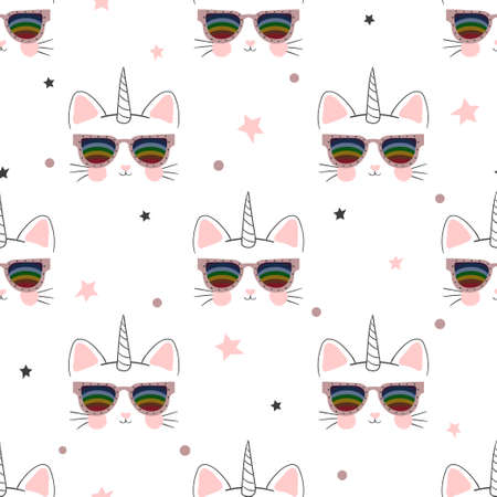 Seamless cartoon cat unicorn pattern. Baby print, kids textile. 矢量图像