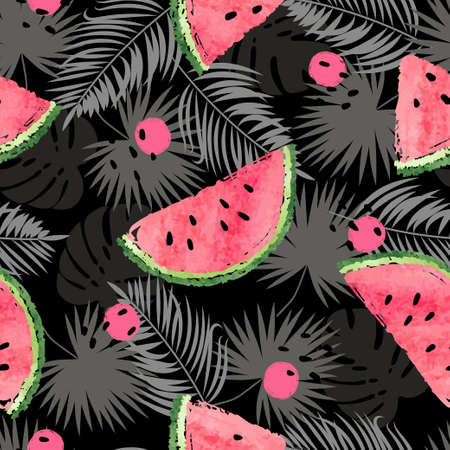 Tropical vector pattern with watermelons and jungle leaves. Summer background.