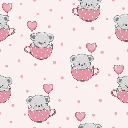 Cute cartoon Teddy bears with balloons seamless pattern. Baby print
