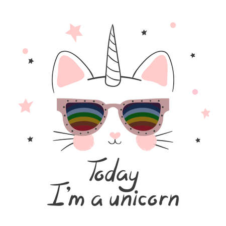 Cute cat unicorn vector illustration. Print for kids. 矢量图像