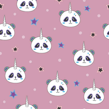 Seamless cute panda unicorn pattern for kids design. 矢量图像