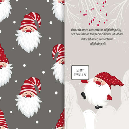 Greeting Christmas card design with cartoon gnome. 免版税图像 - 157874241
