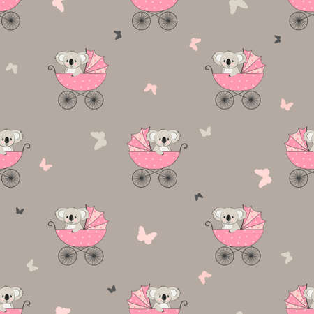 Seamless pattern with cute koala in stroller. Baby shower girl vector illustration.
