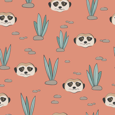 Seamless pattern with cute Meerkats and desert plants