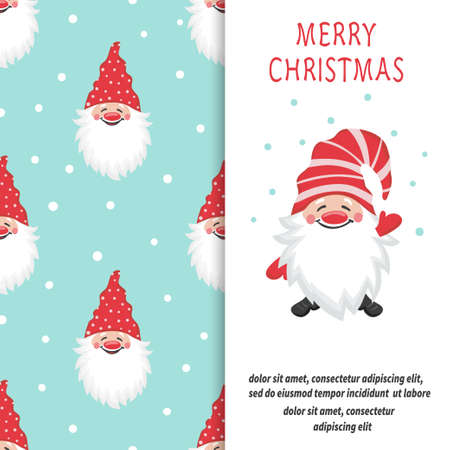 Greeting Merry Christmas card design with cartoon gnome.