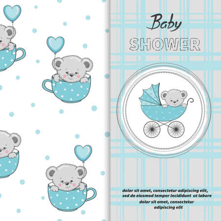 Baby shower boy card design. Cartoon Teddy bear in stroller.